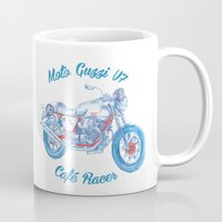 cafe racer Mugs featuring moto guzzi - cafe racer by dareba