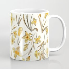 Yellow Floral Pattern Coffee Mug