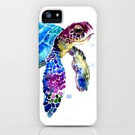 Sea Turtle, Blue Purple Turtle illustration, Sea Turtle design iPhone Case