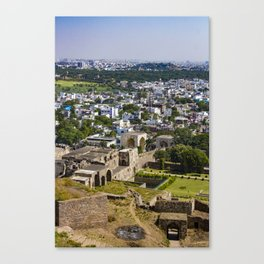 View of the Outer Wall Lining Golconda Fort and the Old City behind It in Hyderabad, India Canvas Print