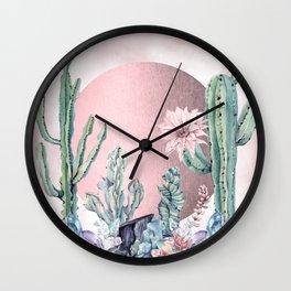 Desert Sun + Gemstones Rose Gold Pink Watercolor Wall Clock