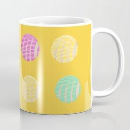Mexican pan dulce conchas mustard background pattern Coffee Mug