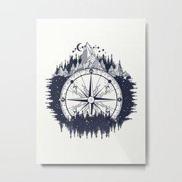 Magical Mountain Compass Mystical Illustration  Metal Print