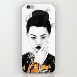 Girl in autumn colors iPhone Skin