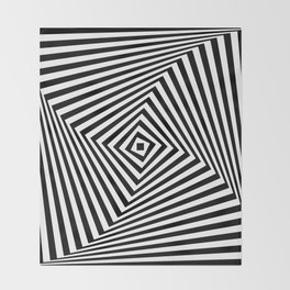 Op art rotating square in black and white Throw Blanket