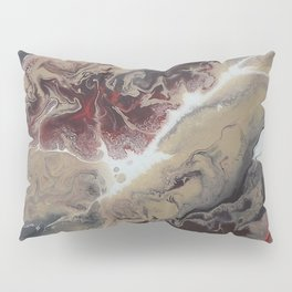 Neutral Black, Red and Brown Painting - Schism Abstract Pillow Sham