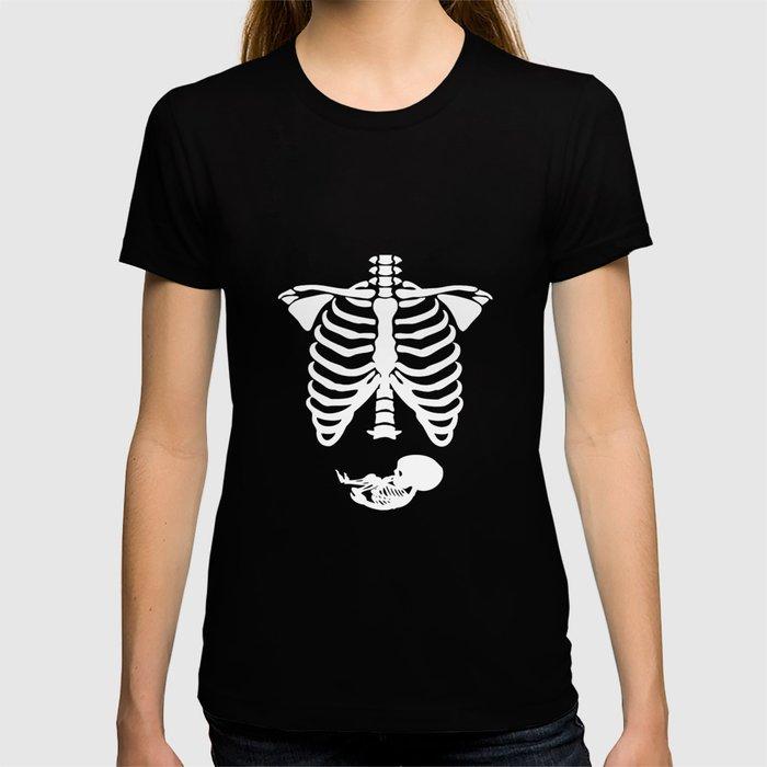 Pregnant Skeleton Ribs Bones Halloween Pregnancy Costume Funny Juniors Skeleton T Shirts T Shirt By Jacquelyndion Society6