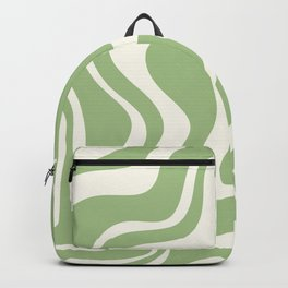 Retro Liquid Swirl Abstract Pattern in Light Sage Green and Cream Backpack