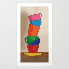 Rainbow Coffee Cups Art Print