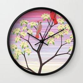 cardinals and dogwood blossoms Wall Clock