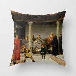 "Sir Lawrence Alma-Tadema ""Education of the Children of Clovis (School of Vengeance)"" Throw Pillow"