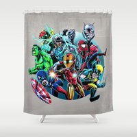 super heroes Shower Curtains featuring Super Heroes by Carrillo Art Studio