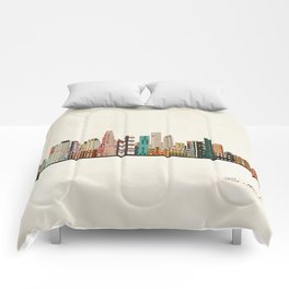 los angeles skyline Comforters
