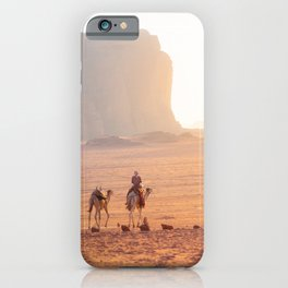 Bedouin and camels at sunset time in the Wadi Rum desert | Travel photography Jordan iPhone Case