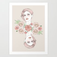 Woman with flowers and beetles Art Print