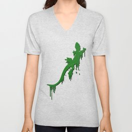 Distressed Green Salamander With Paint Drip Unisex V-Neck