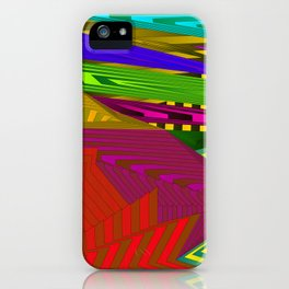 Fancy neon landscap with stylised red mountains, sea and Sun. iPhone Case