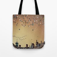 fitzgerald Tote Bags featuring Innumerable wandering balloons by Emma Fitzgerald