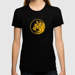 Yellow and Black Growling Wolf Disc T-shirt