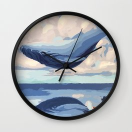 Magnificent Flying Levitating Fantasy Blue Whale Reflection Fisher Boat Dreamland Ultra HD Wall Clock