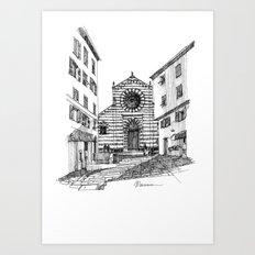 Piazza nel centro storico di Genova Art Print