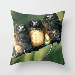 Saw Whet Owls Throw Pillow