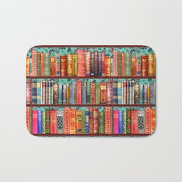 Vintage Books / Christmas bookshelf & holly wallpaper / holidays, holly, bookworm,  bibliophile Bath Mat