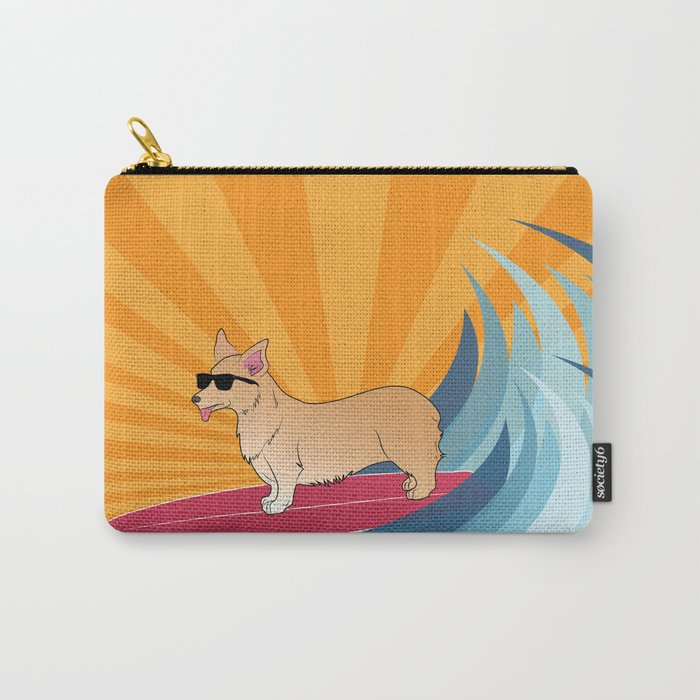 Surfing corgi Carry-All Pouch
