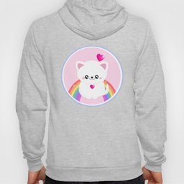 Super Cute Retro Rainbow Sparkle Kitty Hoody