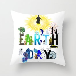 Earth Day Save the planet Throw Pillow