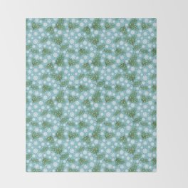 Elegance Xmas Pattern on Turquoise Throw Blanket