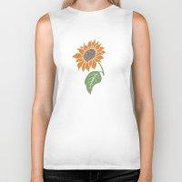 sunflower Biker Tanks featuring Sunflower by Erik Sandi Satresa