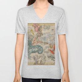 Vintage Celestial & Astrological Map  (1693) Unisex V-Neck
