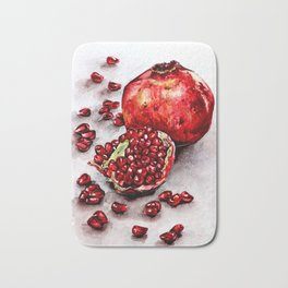 Red pomegranate watercolor art painting Bath Mat
