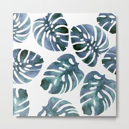 Monstera Blue Metal Print
