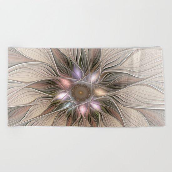 Joyful Flower, Abstract Fractal Art Beach Towel