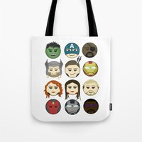 avenger Tote Bags featuring Avenger Emojis :) by Jozi