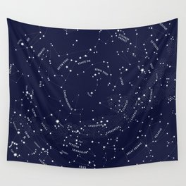 Constellation Map - Indigo Wall Tapestry