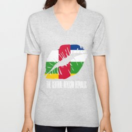 Central African Republic Kiss Lips Unisex V-Neck