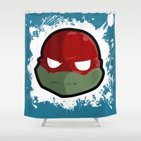 ninja turtles Shower Curtains featuring Ninja Turtles Raphael by studio1six