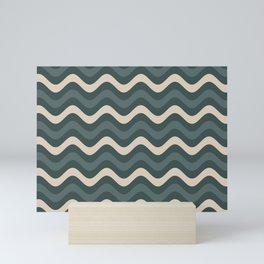 Juniper Berry Green & Alpaca Wool Cream Wavy Horizontal Stripes on Night Watch Green Mini Art Print