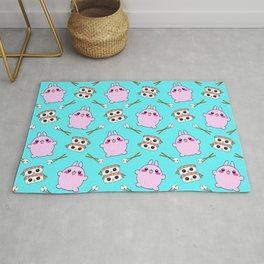 Cute funny Kawaii chibi little pink baby bunnies, happy sweet cheerful sushi with shrimp on top, rice balls and chopsticks light pastel blue pattern design. Rug