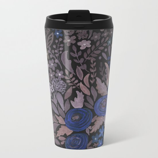 Watercolor blue flowers . The blue of the night . Metal Travel Mug