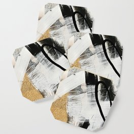 Armor [9]: a minimal abstract piece in black white and gold by Alyssa Hamilton Art Coaster
