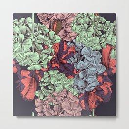 Petunia flowers in vintage style. Vector illustration Metal Print