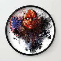 red hood Wall Clocks featuring Red Hood by Vincent Vernacatola