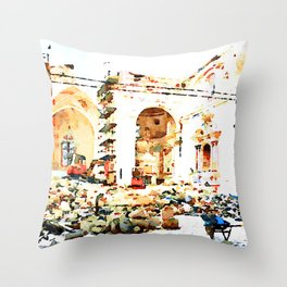 L'Aquila: interior of church destroyed Throw Pillow