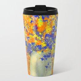 Sparkling Orange and Blue Flower Bouquet Travel Mug