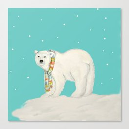 Chilly polar bear in winter Canvas Print