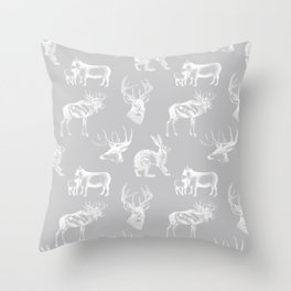 Woodland Critters in Grey Throw Pillow